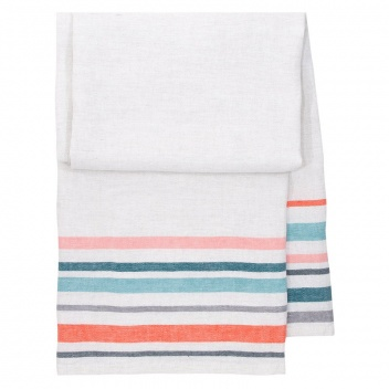 Ręcznik kąpielowy lniany LEWA 95x180 cm Blue-Red