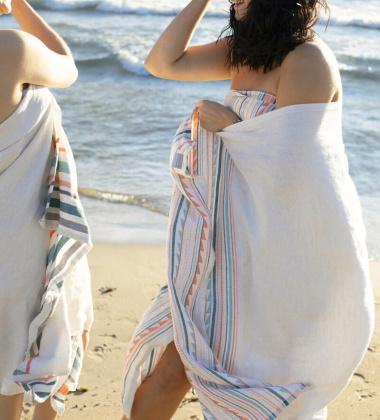 Ręcznik kąpielowy lniany WATAMU 95x180 cm Grey-Bordeaux