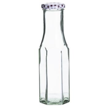 Butelka szklana 0,25L Red Twist Top Hexagon Bottles by KilnerButelka szklana heksagonalna 0,25L Twist Top Bottles Bordowa by Kil
