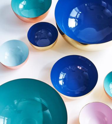 Misa emaliowana BOWL BRASS 18 cm Porcelain Blue