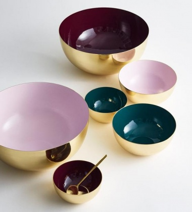 Misa emaliowana BOWL BRASS 18 cm Bordeaux