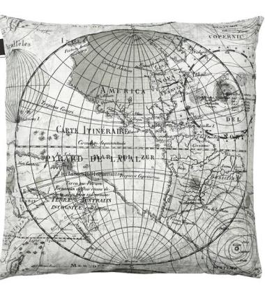 Poduszka World Map 50x50 Czarno-Biała
