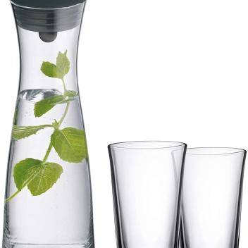 Karafka do wody ze szklankami 1L BASIC Chrome-Black SET 3 by WMF