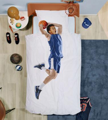 Pościel bawełniana z koszykarzem 140x200 BASKETBALL STAR BLUE
