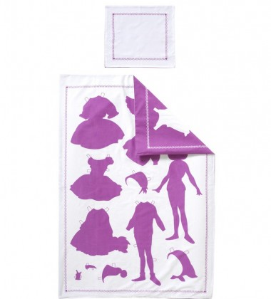 Pościel dziecięca Papper Doll Set 66x132 Fuksja