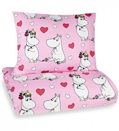 Pościel dziecięca Moomin Heart Set 150x210 Różowa