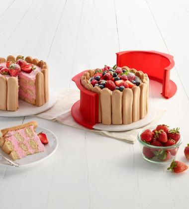 Tortownica silikonowa do ciasta Charlotte DUO 18 cm Czerwona by Lekue