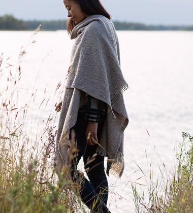 Szal-Poncho Corona Uni Wool 75x125 Jasny Szary