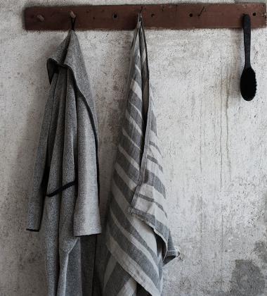 Lniany Ręcznik kąpielowy Twisti 95x180 Czarno-Lniany