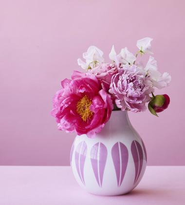 Wazon z porcelany Lotus 17,5 cm Biało-Różowy