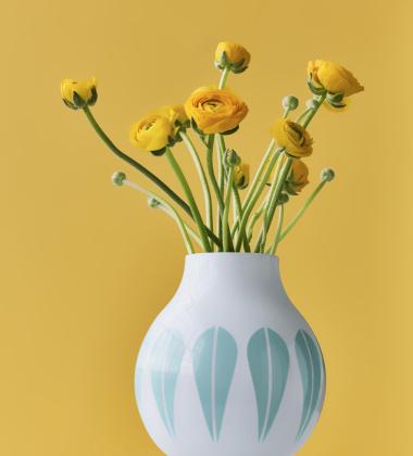 Wazon z porcelany Lotus 21,5 cm Biało-Miętowy