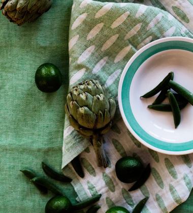 Ścierka kuchenna Helmi 48x70 Biało-Zielona