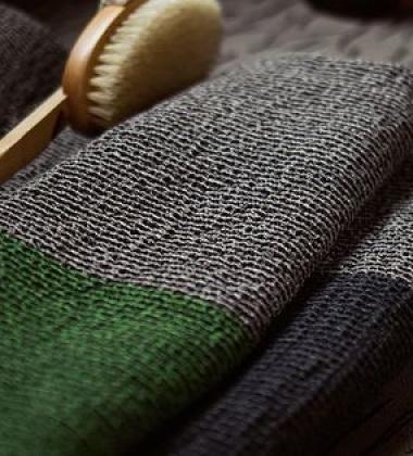 Ręcznik Terva 85x180 Czarno-Multi-Zielony