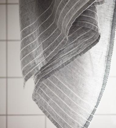 Lniany Ręcznik kąpielowy Kaste 95x180 Szaro-Biały