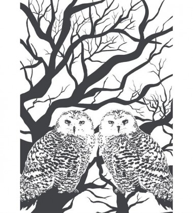 Owl Tea Towel 50x70 White-Black