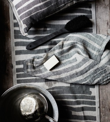 Bieżnik do sauny Twisti 46x150 Lniano-Czarny
