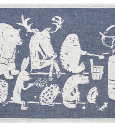 Bieżnik do sauny Elainten 46x150 Biało-Niebieski