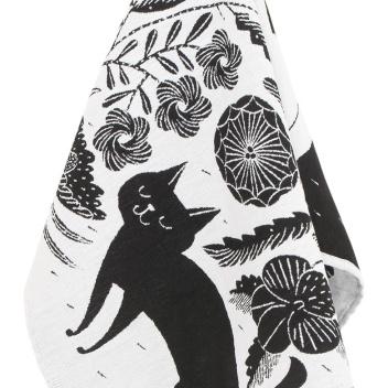 Ścierka kuchenna Koira Ja Kissa 48x70 Biało-Czarna