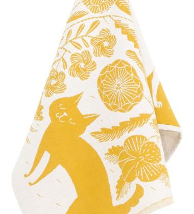 Ścierka kuchenna Koira Ja Kissa 48x70 Biało-Żółta