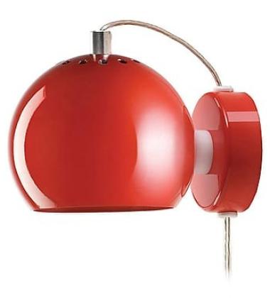 Lampa ścienna Ball Wall 12 cm Czerwona Połysk