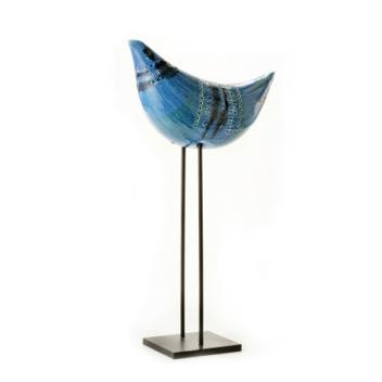 Rimini Blu Figura Uccello No 34 Bird on stand H36