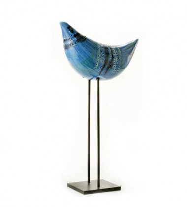 Rimini Blu Figura Uccello No 34 Bird on stand H36
