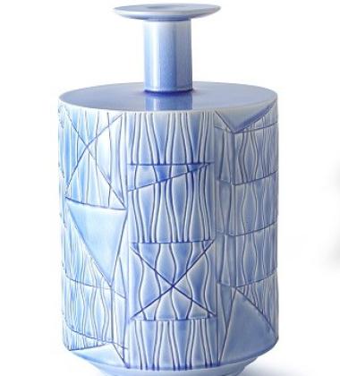 Vase A BLW-4 H38x23 Crackled Light Blue
