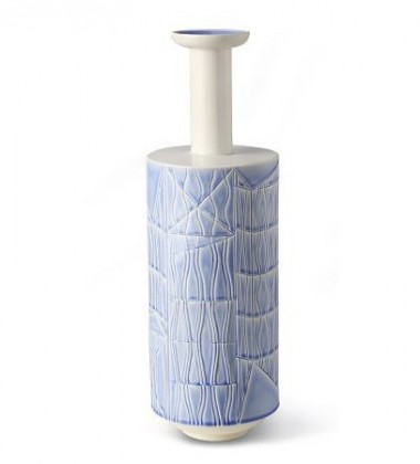 Vase C BLW-14 H49x16 Light Blue with White Top