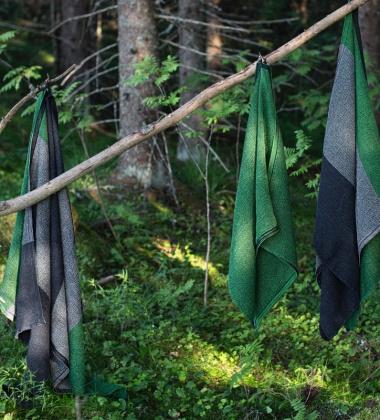 Ręcznik Terva 65x130 Czarno-Multi-Zielony