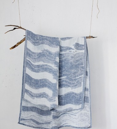 Lniany Ręcznik kąpielowy Aallonmurtaja 95x180 Biało-Niebieski