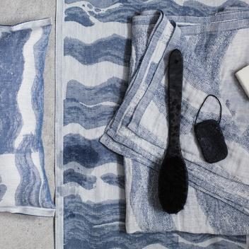 Bieżnik do sauny Aallonmurtaja 46x150 Biało-Niebieski