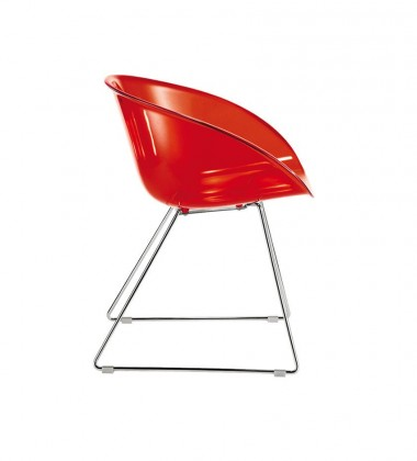 Krzesło Gliss 921 na płozach Czerwone Przezroczyste
